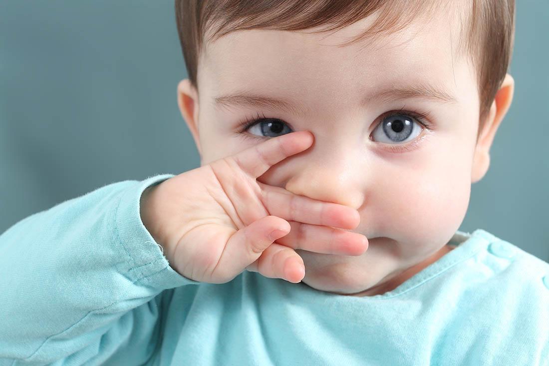 Sechsmonate altes Mädchen mit grossen, blauen Kulleraugen schaut in Kamera. Sein Händchen reibt es an der Nase.
