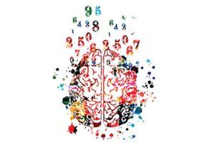Buntes gezeichnetes Gehirn von oben, aus dem Farben farbige Zahlen und flecken fliegen.