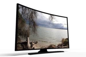 Grosser, gekrümmter Fernsehbildschirm