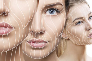 Kollage von drei jungen, schönen Frauengesichter. Grafische Linien zeigen den Effekt beim Gesichtslifting auf.
