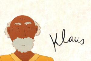 Illustration eines älteren Mannes. Er kneift die Augen zu, hat graue Haare auf den Seiten, eine Glatze und einen grauen Bart. Links neben ihm steht der Name Klaus geschrieben.