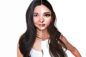 Ein Profilbild einer jungen Frau mit braunen, langen Haaren. Allerdings ist die linke Hälfte des Porträts ein echtes Foto und die rechte Hälfe ein Avatarbild. Das Avatarbild ist digital hergestellt. Das Auge der Frau ist viel grösser, die Lippen voller und die Nase schmäler.