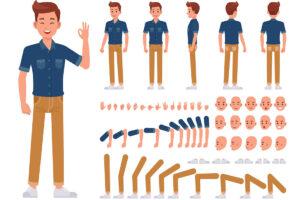 Links ein fertig erstellter Avatar - ein Mann mit blauem Hemd, brauner Hoser, weissen Schuhe und braunen Haaren. Rechts sind die ganzen Auswahlmöglichkeiten wie Statur, Handvarainten, Mimiken, Armpositionen, Schuhe und Beinposen, die man auswählen kann, um seinen digitalen Charakter zu erstellen.