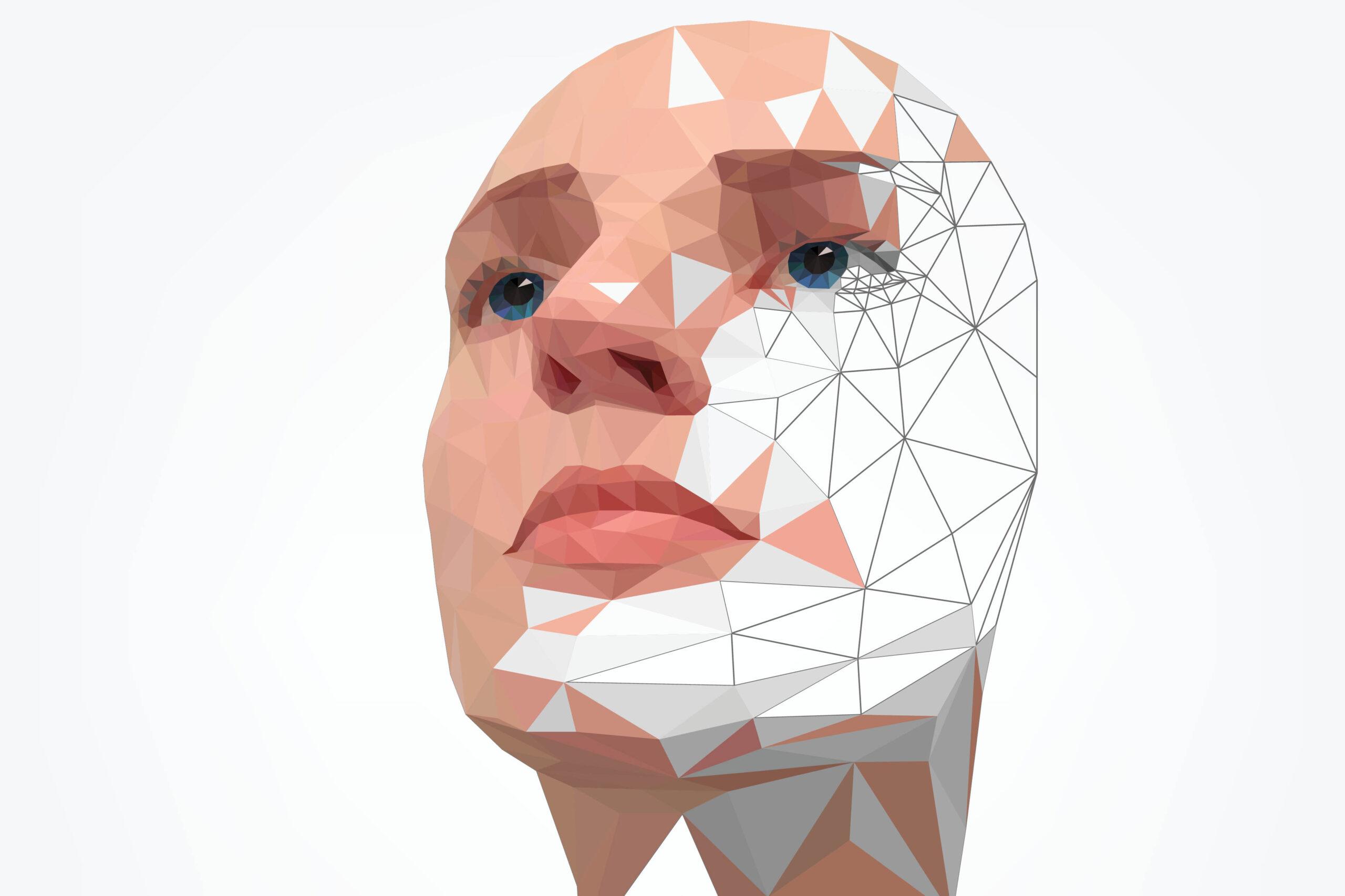 Rendering von einem Gesicht. Feines Liniengitter überzieht das künstliche Gesicht. Ein Teil ist schon fertig ausgefüllt und in Farbe.