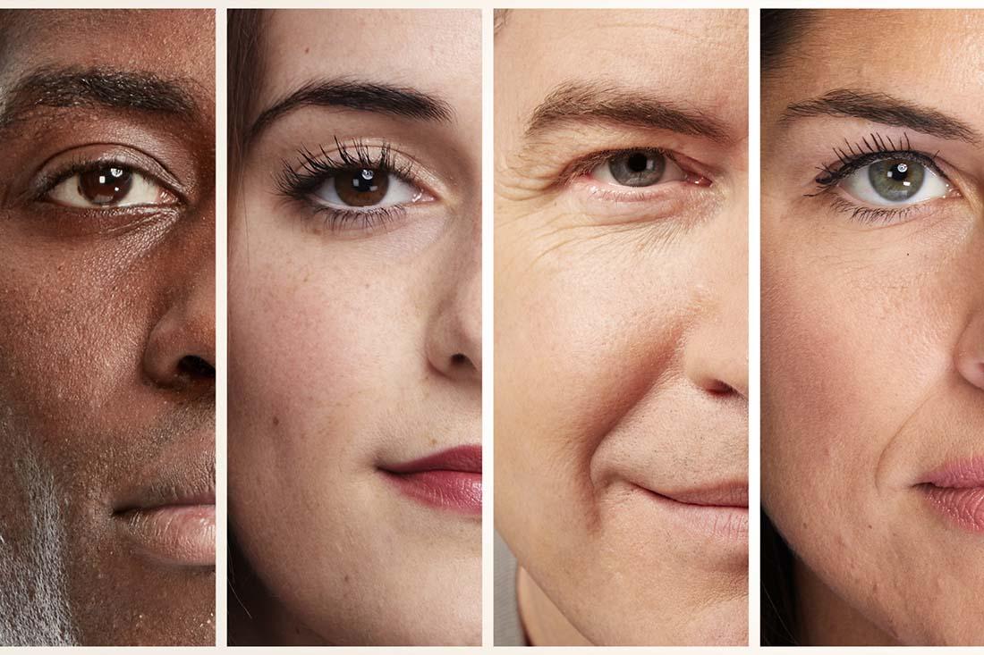 Vier Gesichtshälften mit unterschiedlichen Augenfarben neben einander.