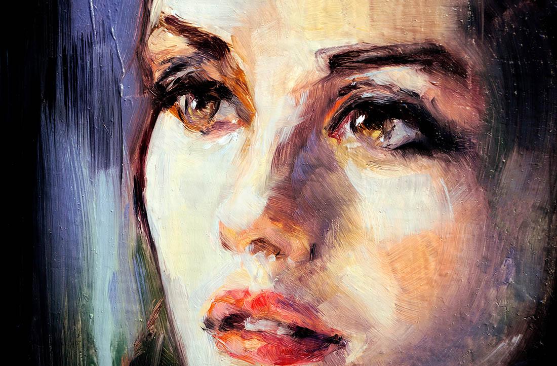 Ölgemälde eines Gesichts von einer jungen, hübschen Frau. Sie schaut nachdenklich zur Seite. Die Augen sind braun und die Lippen rot.