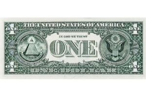Die Rückseite der Ein-Dollar-Note mit dem Trinität-Symbol