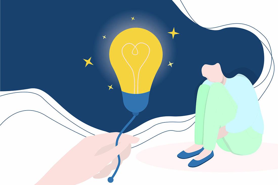 Gezeichnetes Bild einer Ffrau, die traurig auf dem Boden sitzt, im Vordergrund hält ihr eine Hand eine leuchtende Glühbirne entgegen.