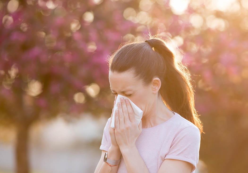 Frau niest wegen ihrer Pollenallergie in ein weisses Taschentuch, im Hintergrund sind verschwommen blühende Bäume zu sehen.