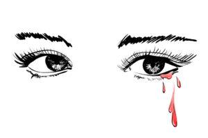 Gezeichnetes Augenpaar, das Tränen aus Blut weint.