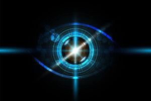Mit blauen Laser-Strahlen ist die Form eines Auges zu erkennen.
