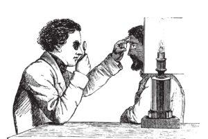 Eine Zeichnung eines Mannes, der das Auge eines anderes untersuchen und verstehen will.