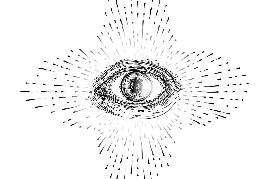 Zeichnung eines Auges mit Punkten und Schlieren drum herum.