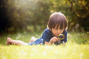 Ein Junge liegt im Gras und beobachtet mit der Lupe die Wiese.